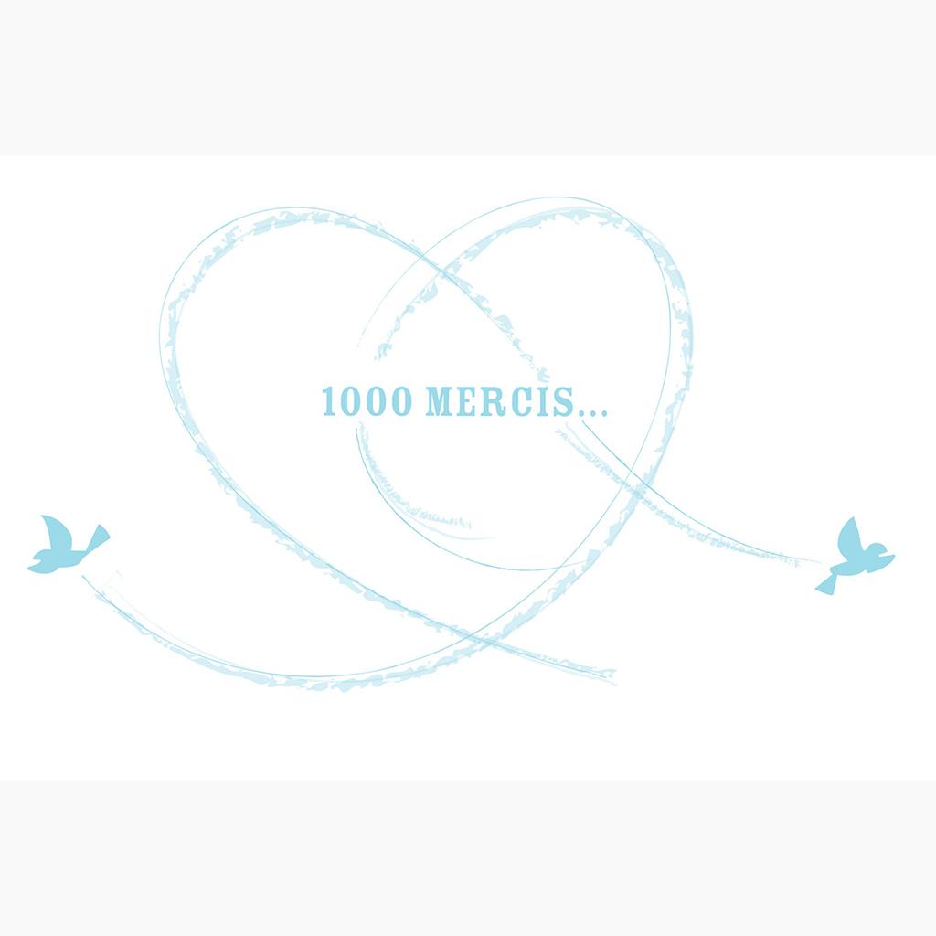 Carte de remerciement mariage Bleu ciel  pas cher