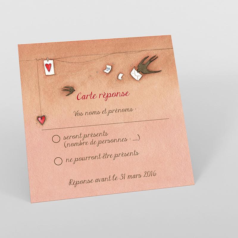 Carton réponse mariage Tendre espièglerie beige rose