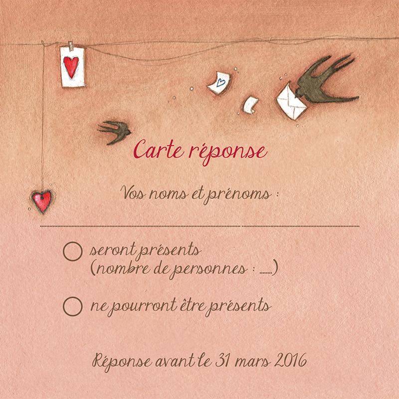 Carton réponse mariage Tendre espièglerie beige rose pas cher