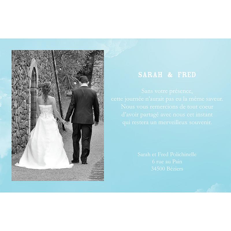 Carte de remerciement mariage Bleu ciel  gratuit