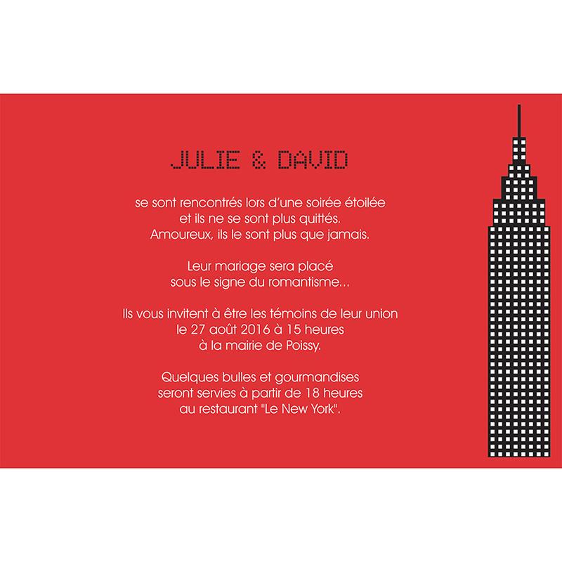 Faire-part de mariage New york rouge