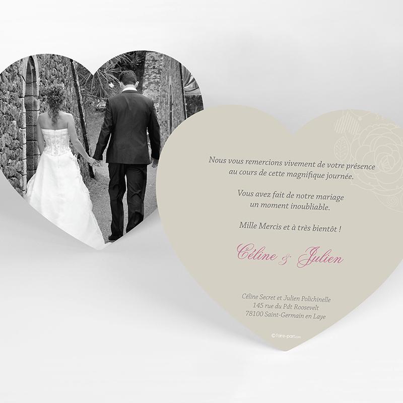 Carte de remerciement mariage Mariage ivoire coeur