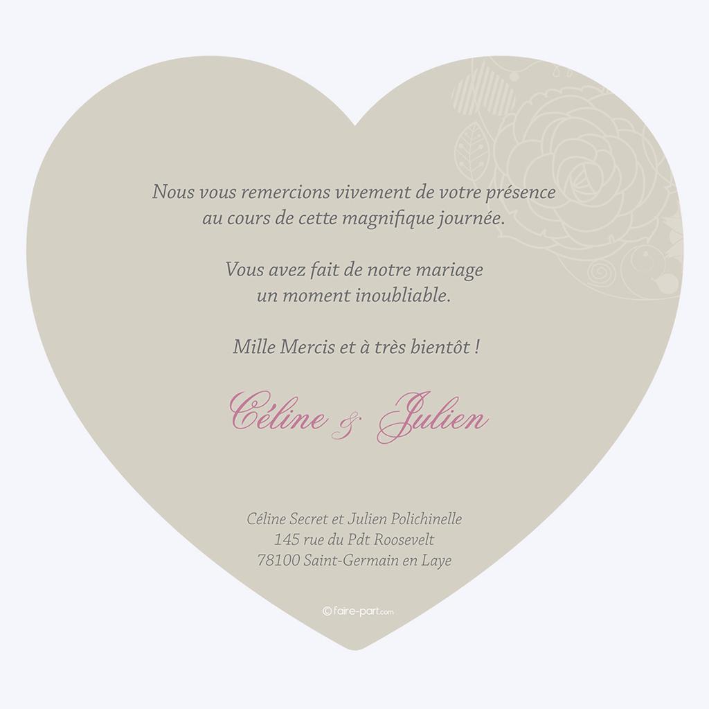 Carte de remerciement mariage Mariage ivoire coeur pas cher