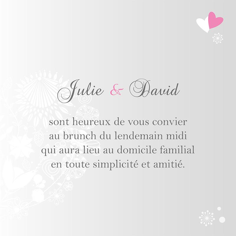 Carte d'invitation mariage Youpi gris tryptique pas cher