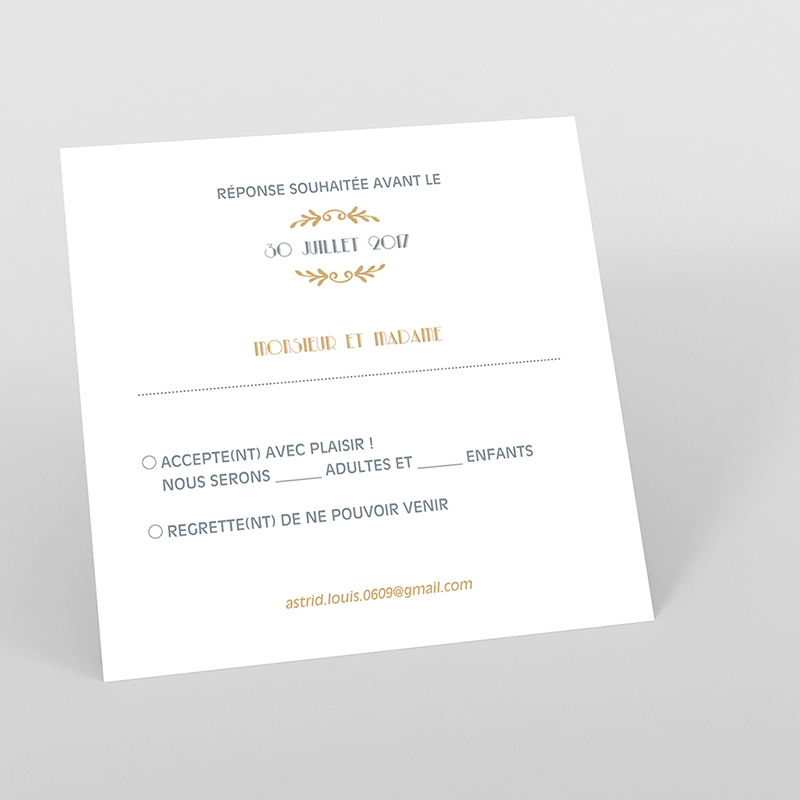 Carton réponse mariage Mistinguett