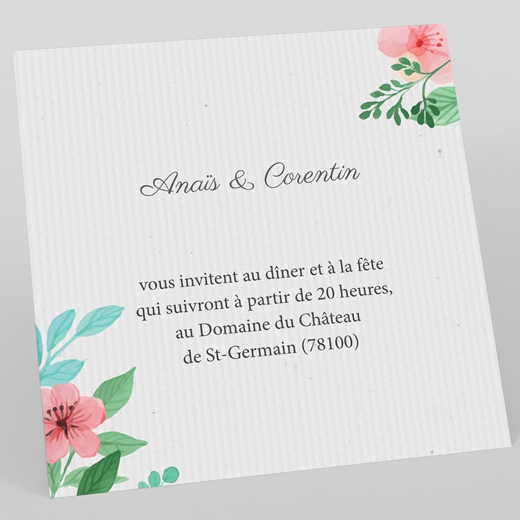 Carte d'invitation mariage Nature Aquarelle