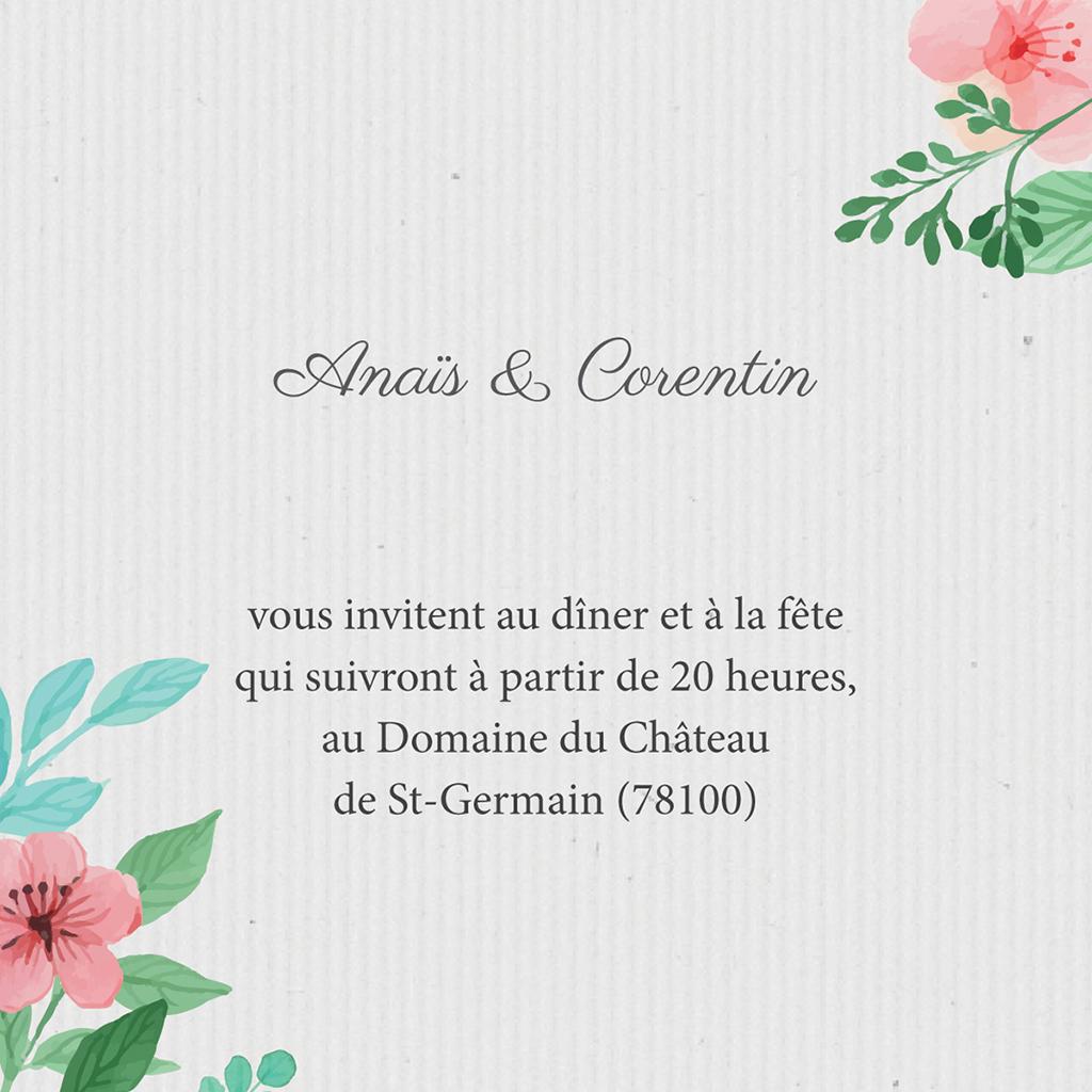 Carte d'invitation mariage Nature Aquarelle pas cher