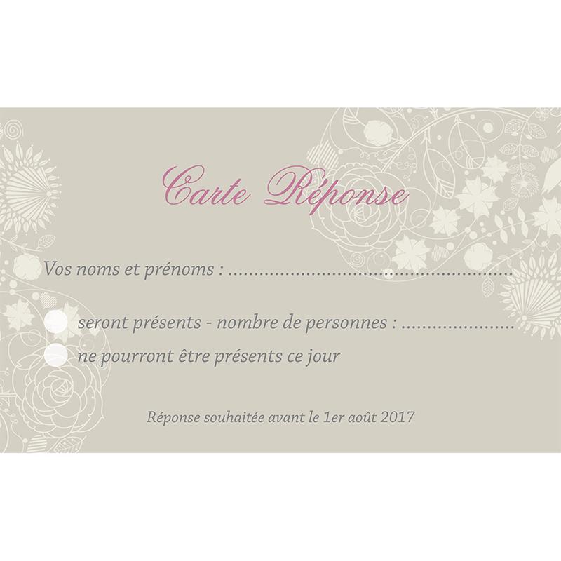Carton réponse mariage Mariage ivoire  pas cher