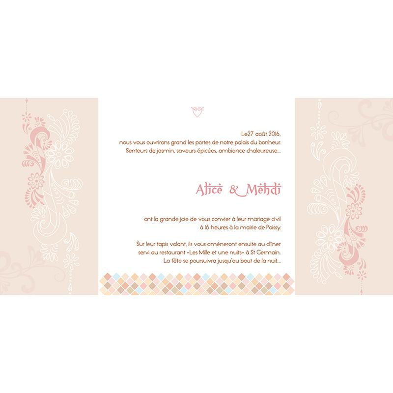 Faire-part de mariage Oriental  gratuit