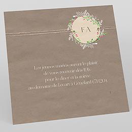 Carte d'invitation mariage Bohemian Kraft