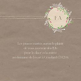 Carte d'invitation mariage Bohemian Kraft pas cher