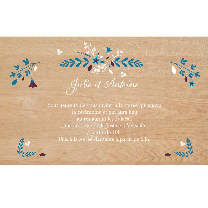 Carte d'invitation mariage Bois Fleuri pas cher