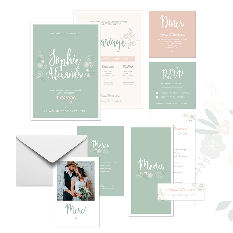 Carte d'invitation mariage Sweet Wedding gratuit