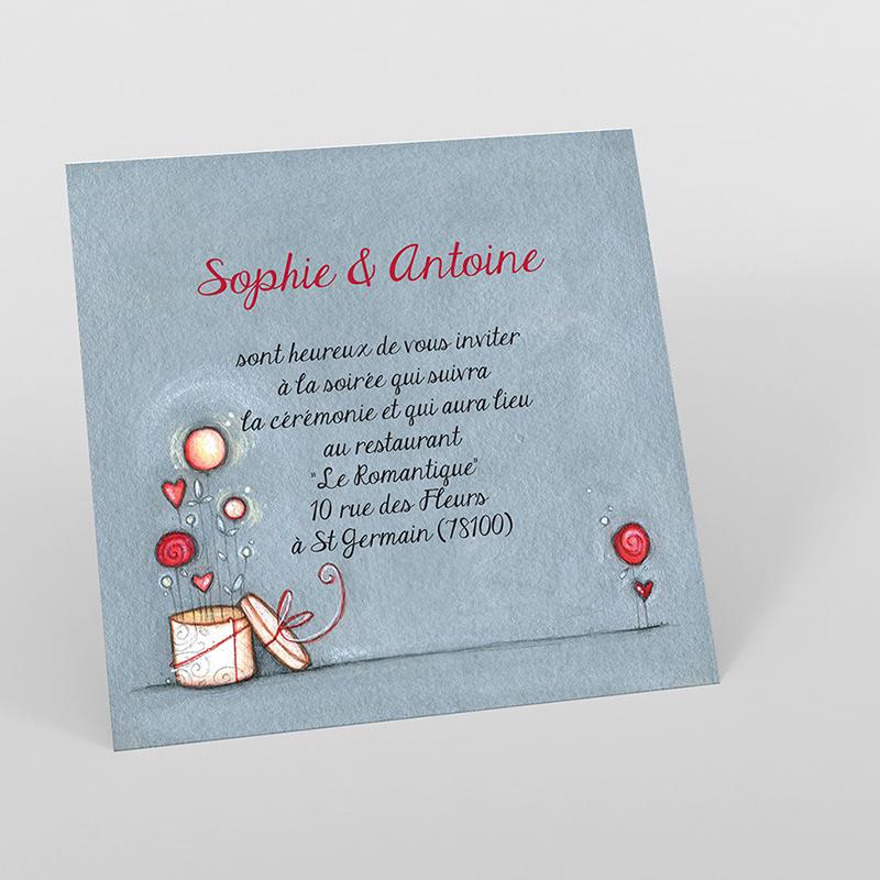 Carte d'invitation mariage Tendre espièglerie gris vert