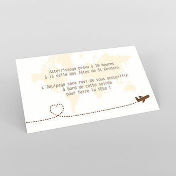 Carte d'invitation mariage Voyage chocolat