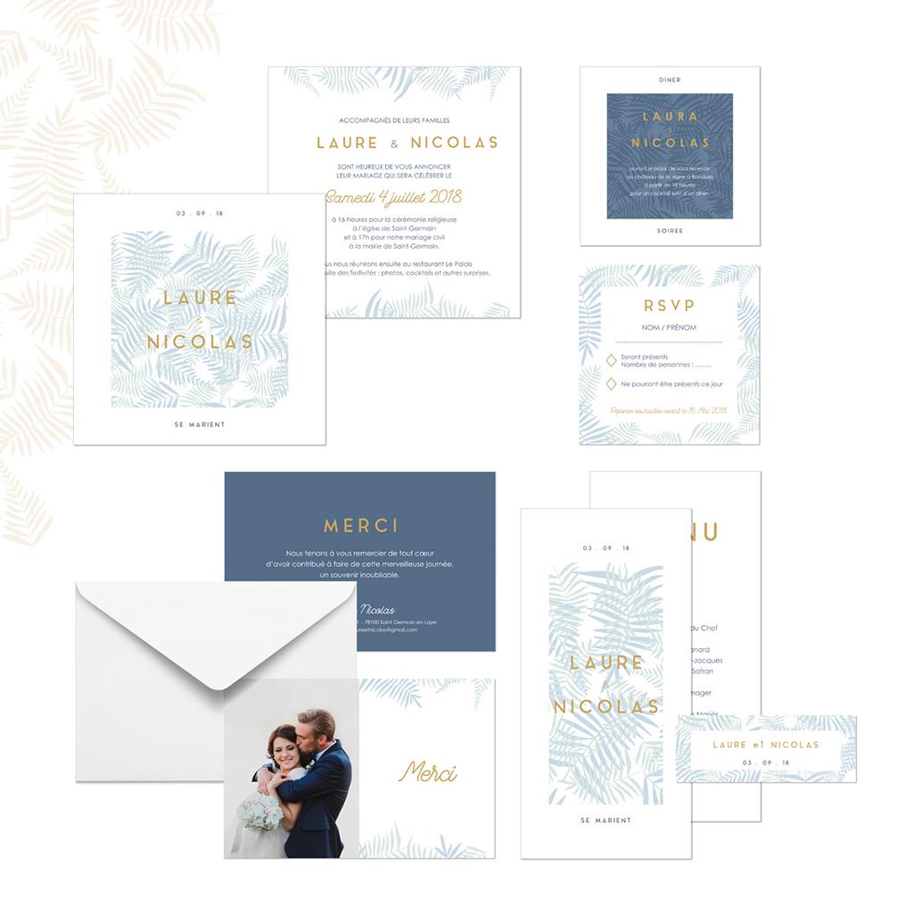 Carte d'invitation mariage Soft Jungle gratuit