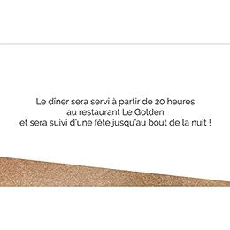 Carte d'invitation mariage Golden Rose pas cher