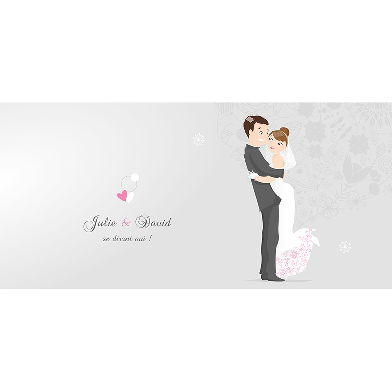 Faire-part de mariage Youpi gris panoramique pas cher