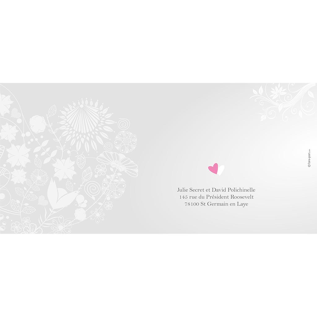 Faire-part de mariage Youpi gris panoramique