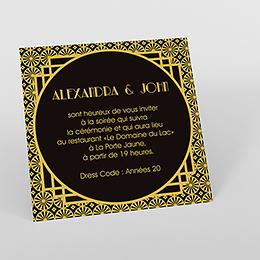 Carte d'invitation mariage Mariage années folles noir