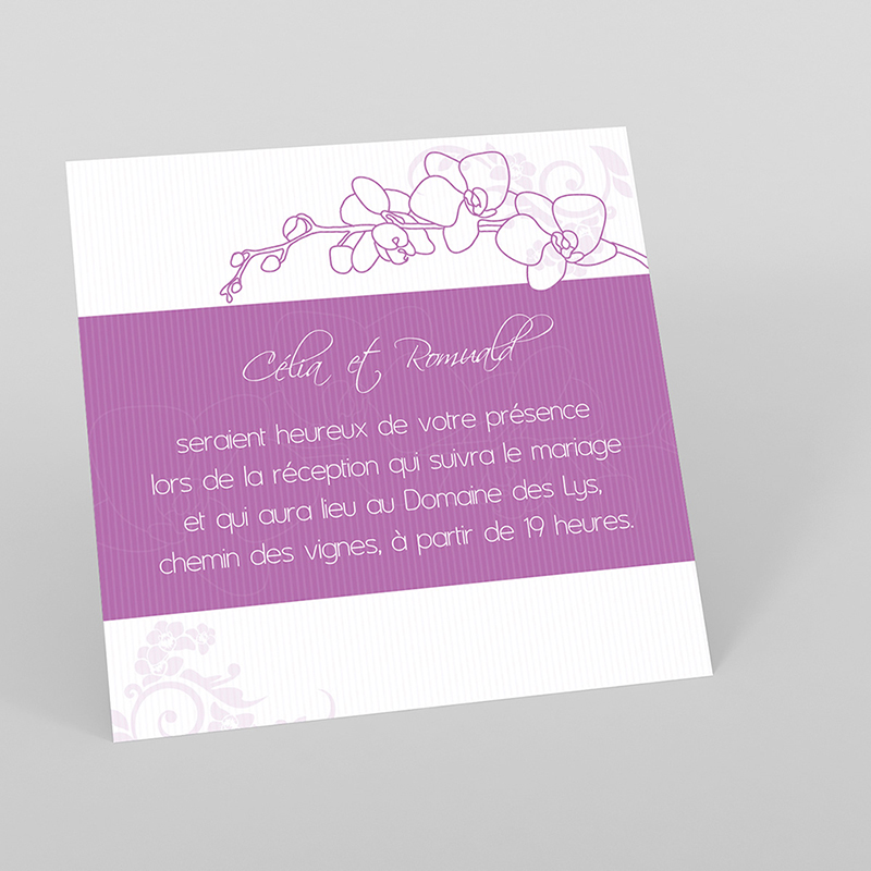 Carte d'invitation mariage Orchidées