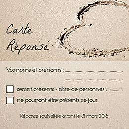 Carton réponse mariage La Plage  pas cher