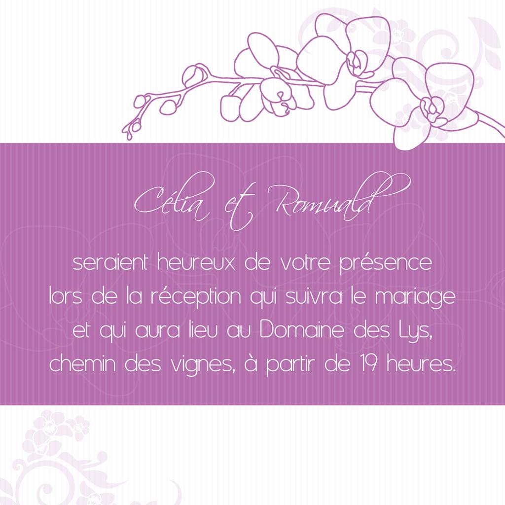Carte d'invitation mariage Orchidées  pas cher