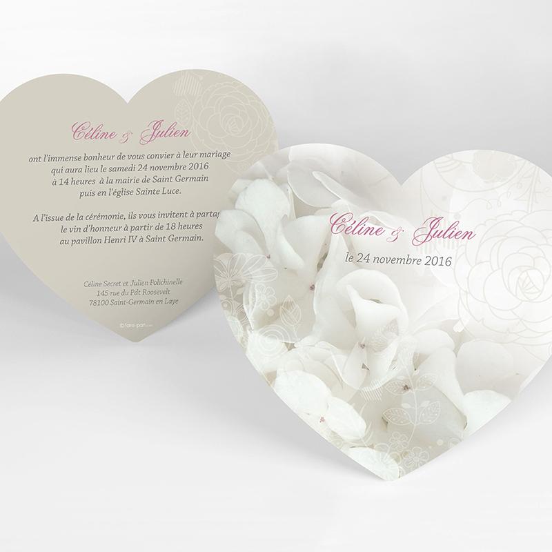 Faire-part de mariage Mariage ivoire coeur