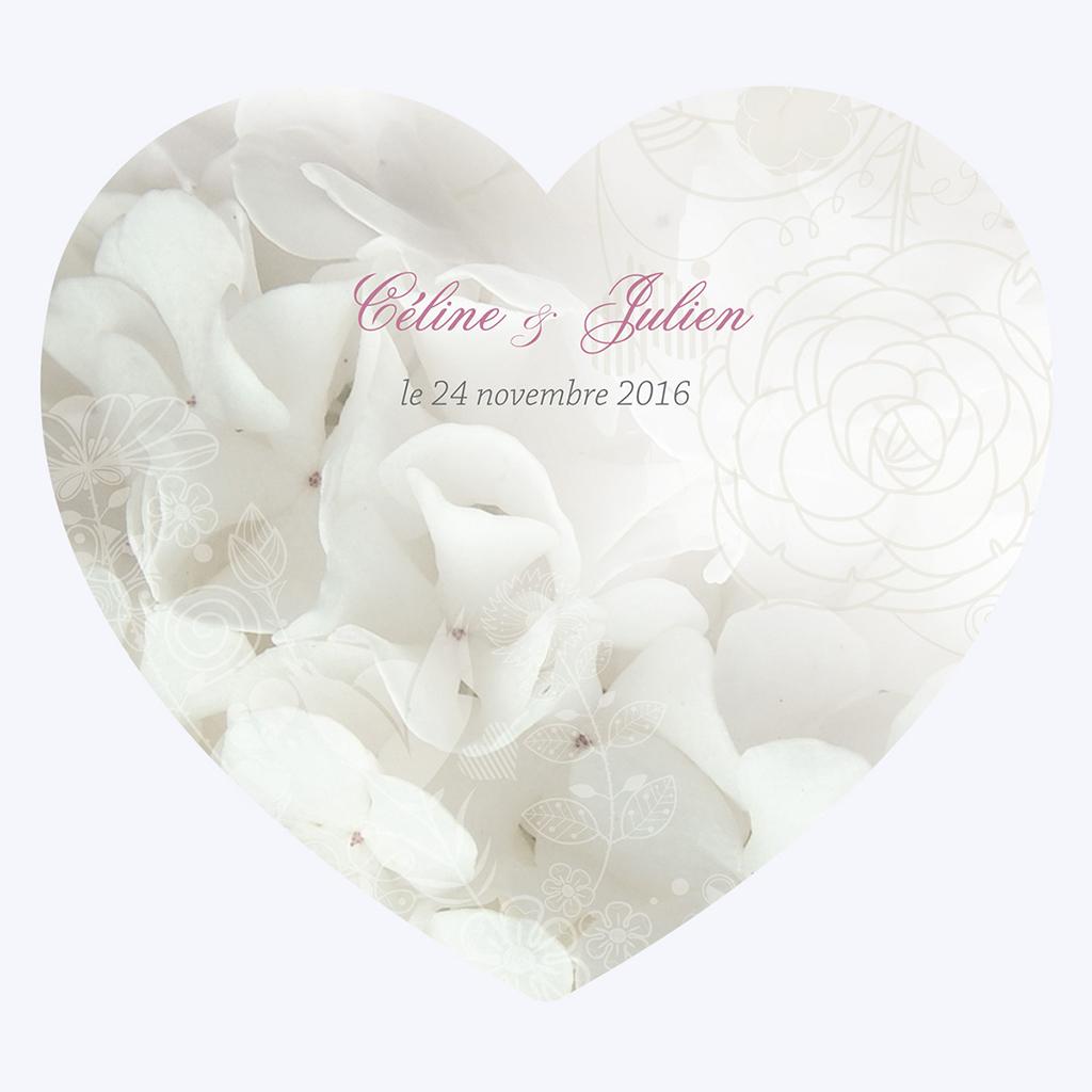 Faire-part de mariage Mariage ivoire coeur pas cher