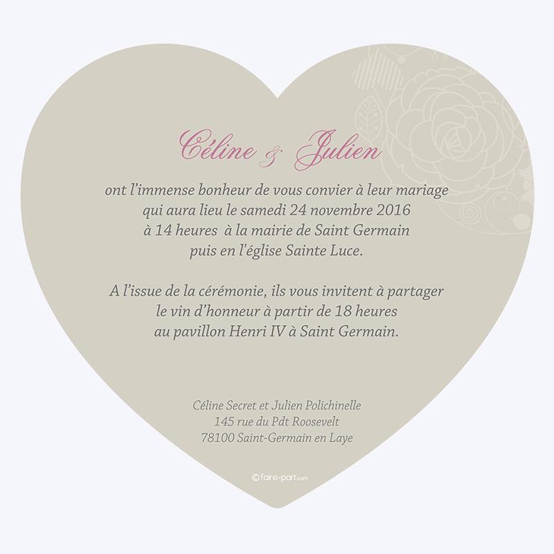 Faire-part de mariage Mariage ivoire coeur gratuit