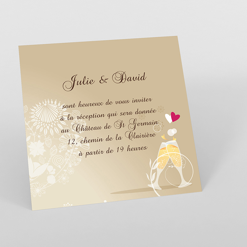 Carte d'invitation mariage Youpi 1 fille