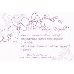 Carte de remerciement mariage Orchidées  pas cher