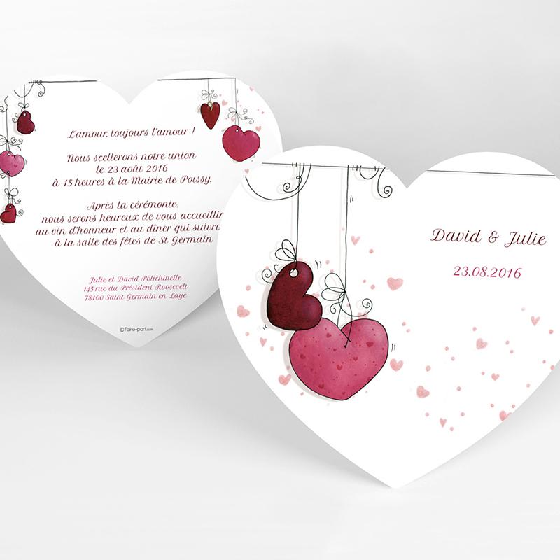 Faire-part de mariage Les Coeurs coeur