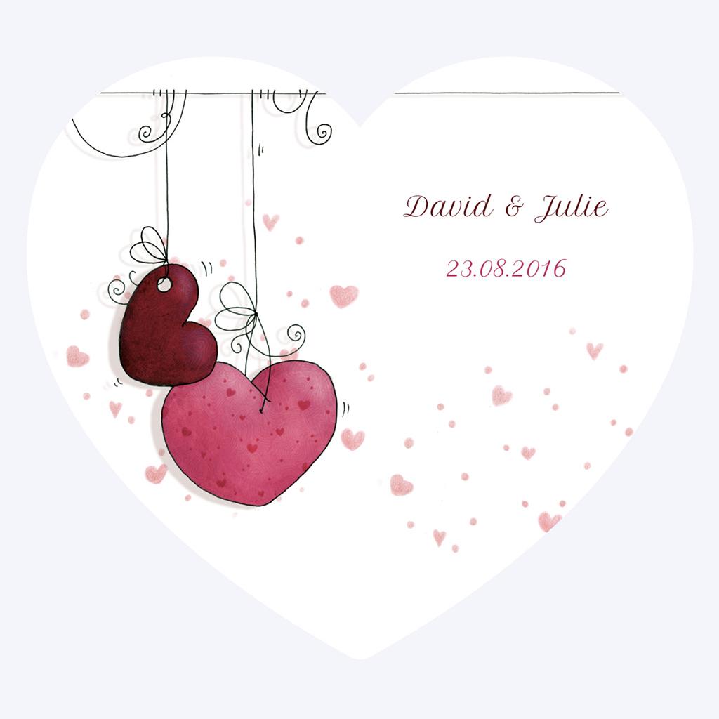Faire-part de mariage Les Coeurs coeur pas cher