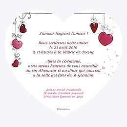 Faire-part de mariage Les Coeurs coeur gratuit