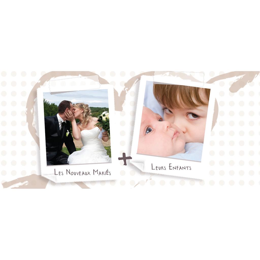Carte de remerciement mariage Mots d'enfant beige  pas cher
