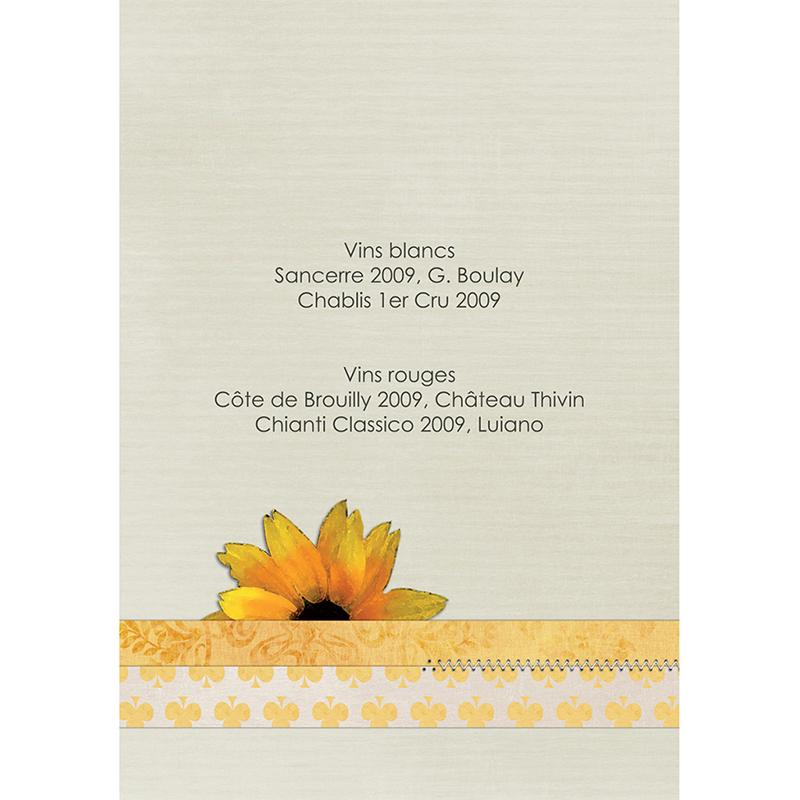 Menu mariage Scrap'jaune  gratuit
