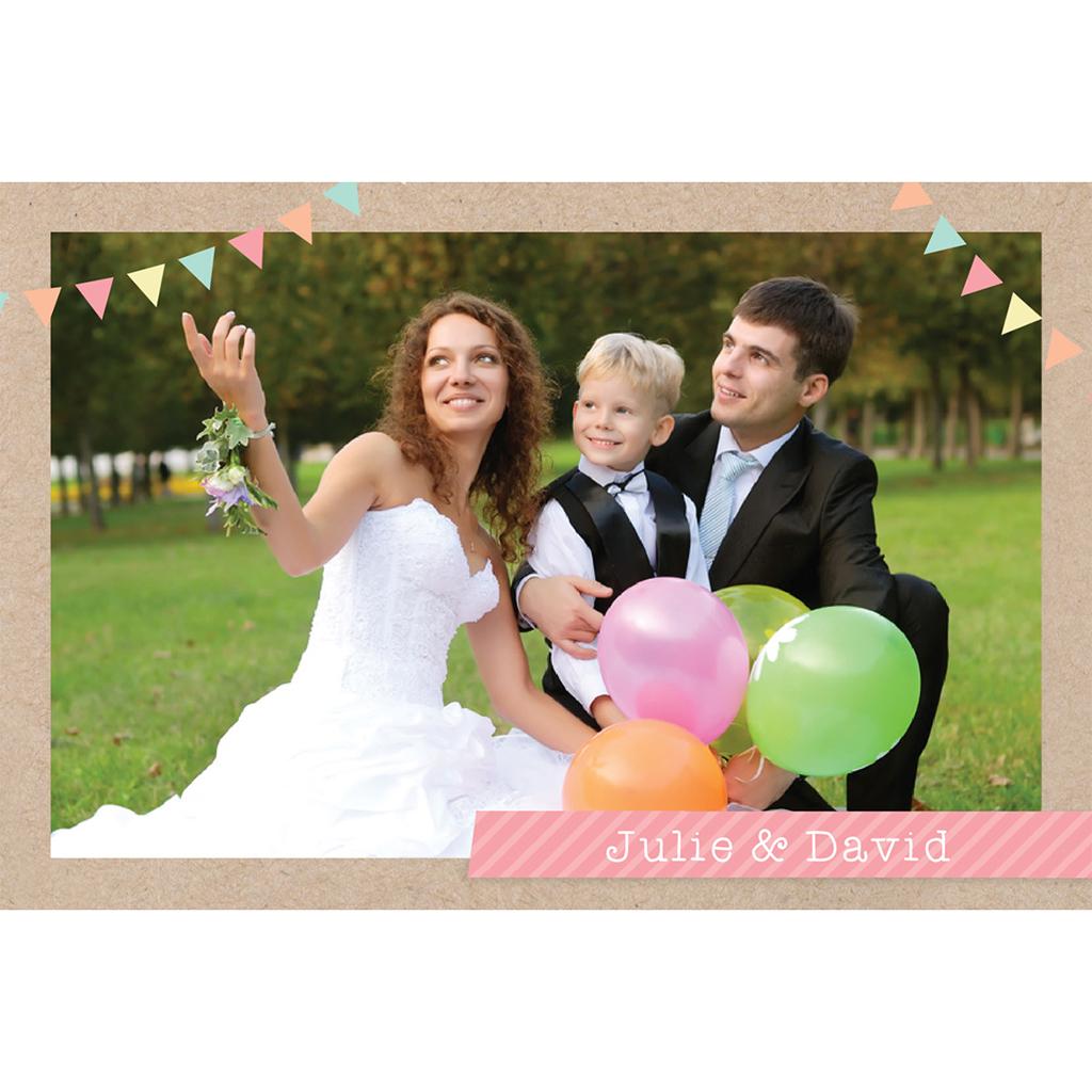 Carte de remerciement mariage Pretty love story  pas cher