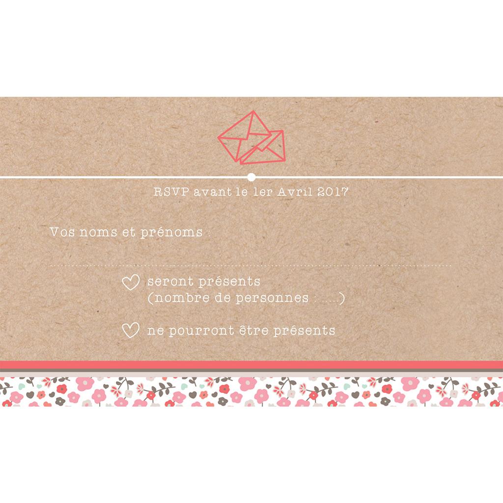 Carton réponse mariage Liberty  pas cher