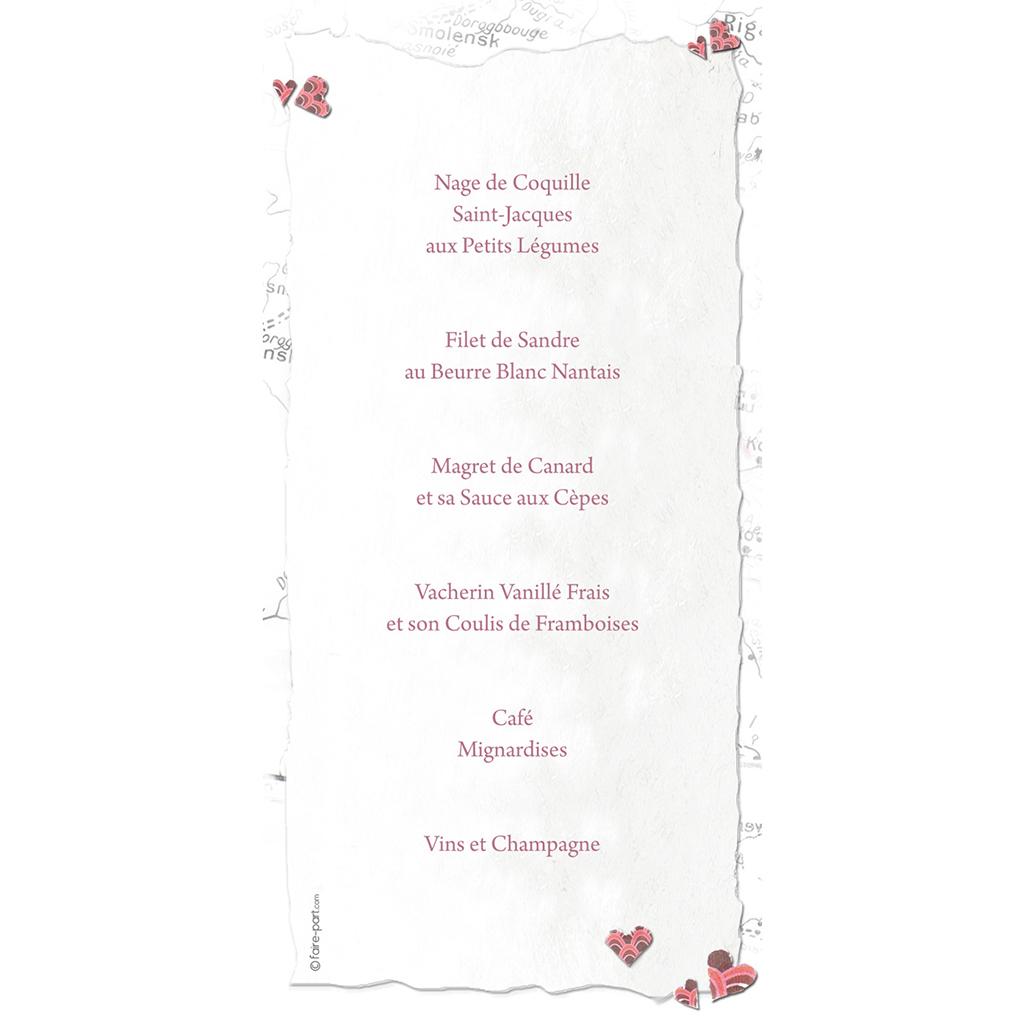 Menu mariage Voyage d'amour  gratuit
