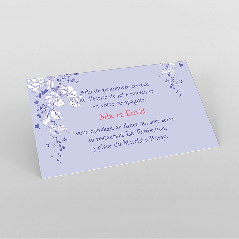 Carte d'invitation mariage Romance