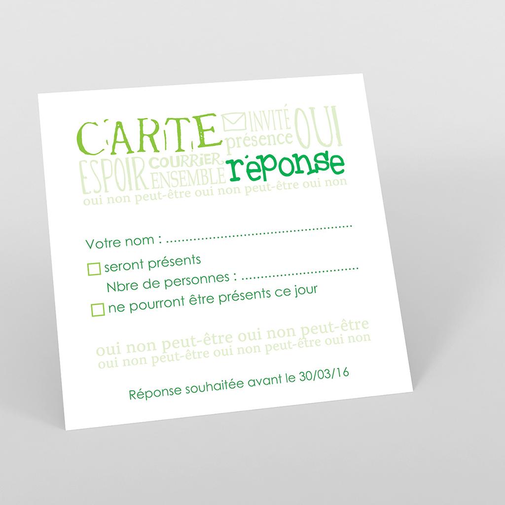 Carton réponse mariage Jeu de mots vert