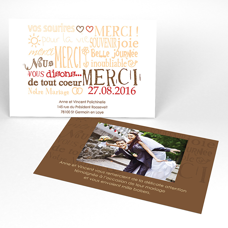 Carte de remerciement mariage Jeu de mots chocolat