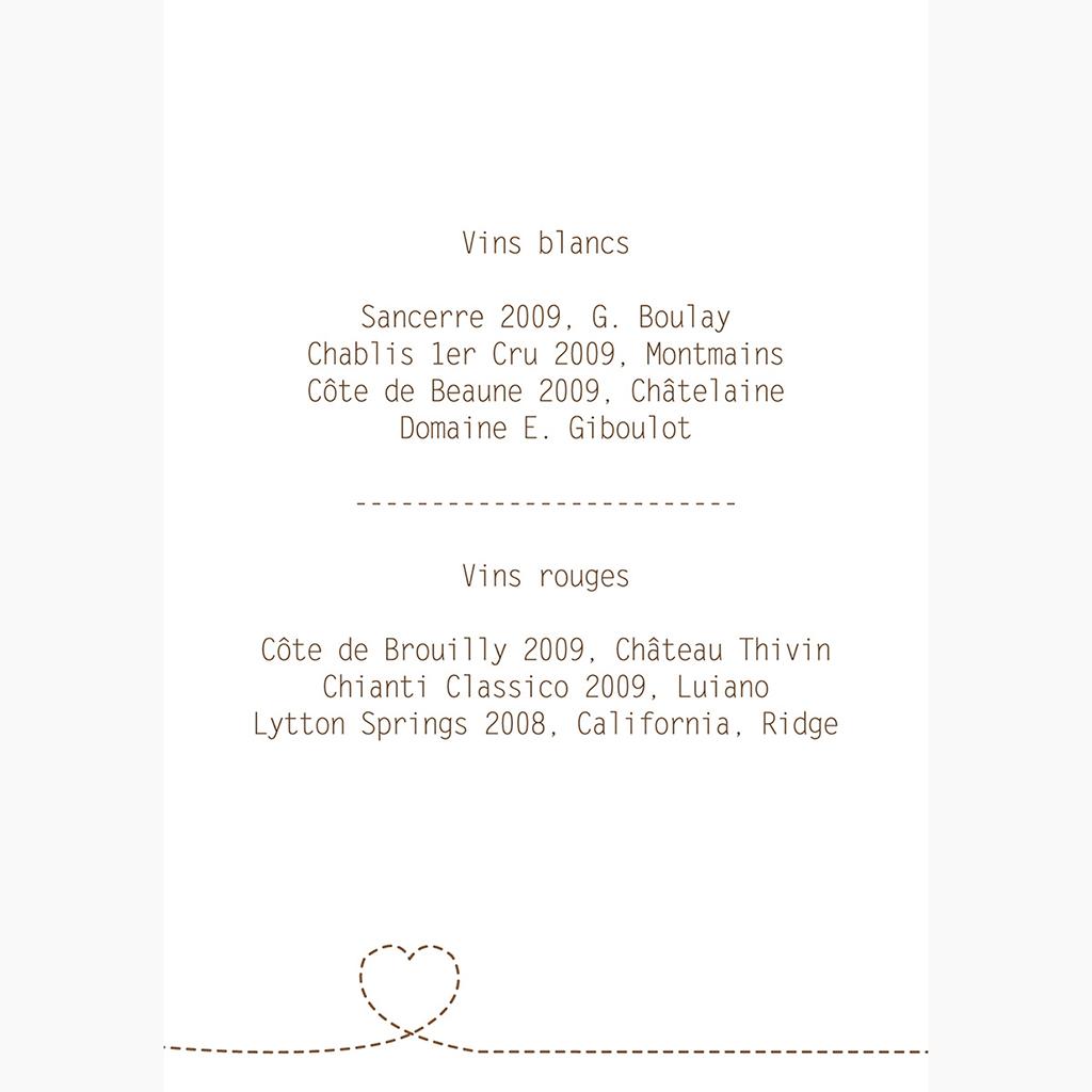 Menu mariage Voyage chocolat gratuit