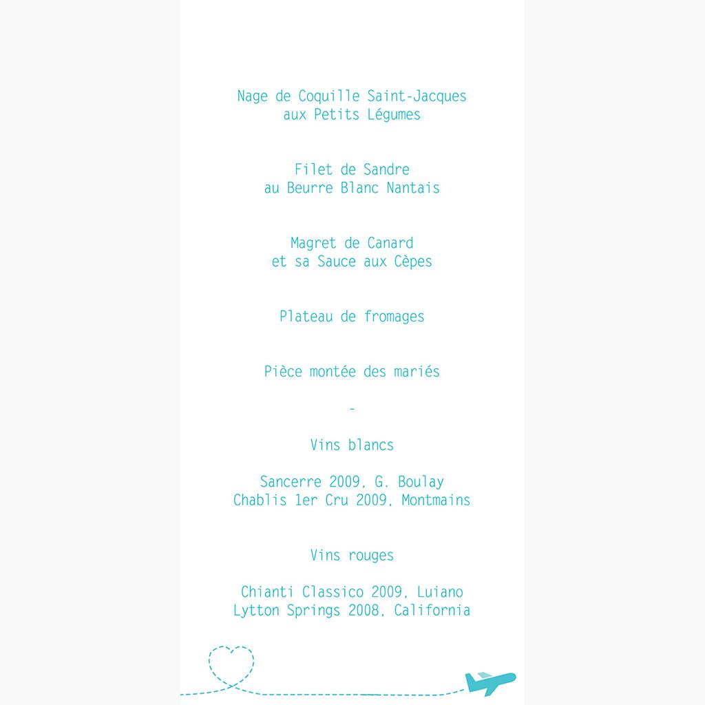 Menu mariage Voyage bleu gratuit