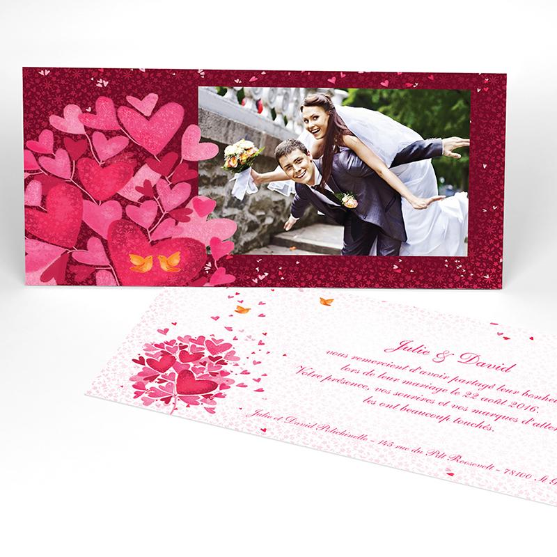 Carte de remerciement mariage L'Envolée