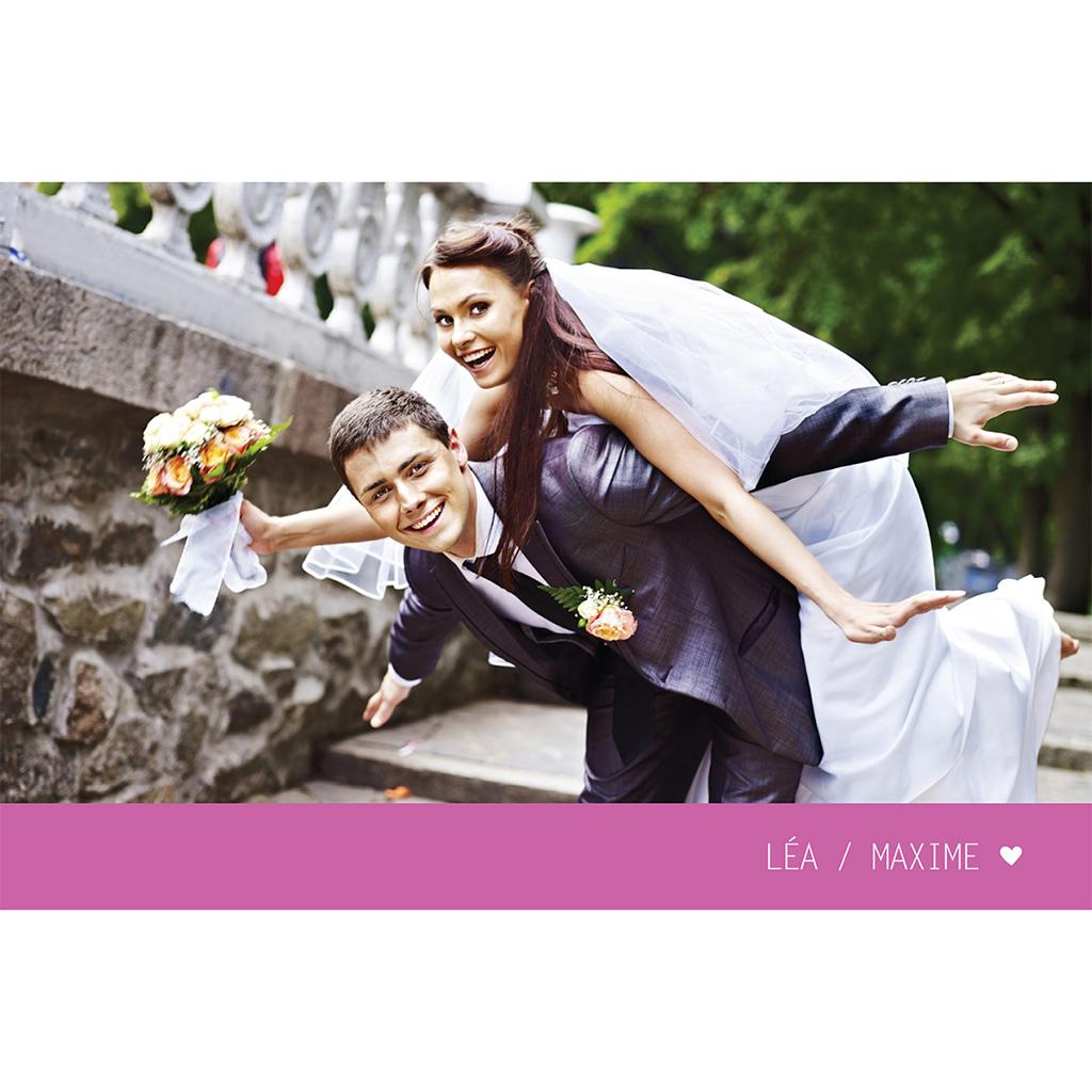 Carte de remerciement mariage Voyage rose pas cher