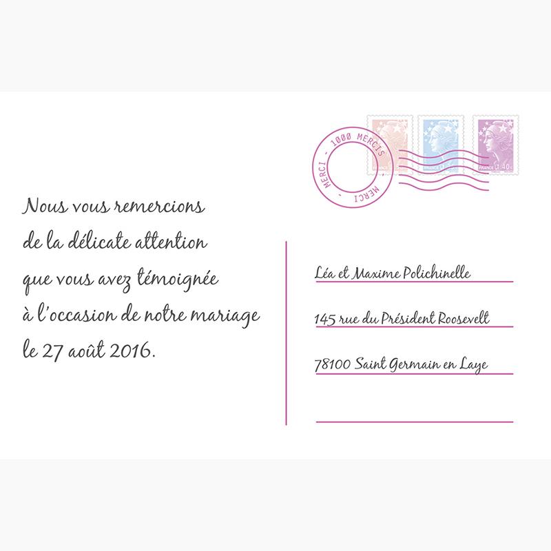 Carte de remerciement mariage Voyage rose gratuit