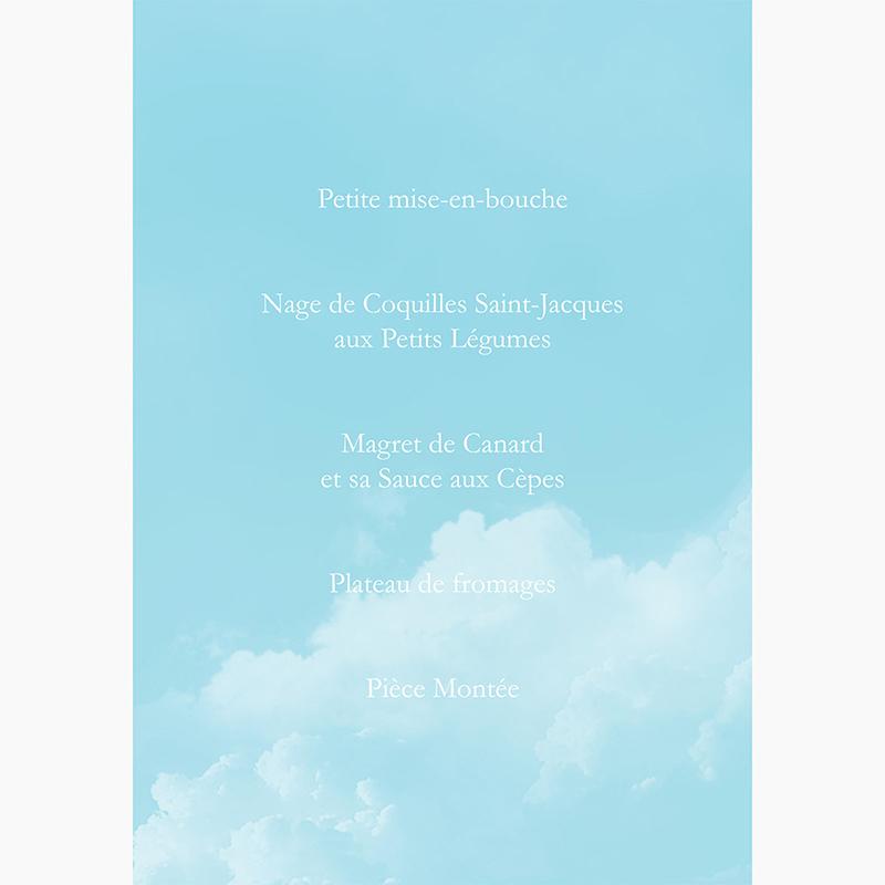 Menu mariage Bleu ciel