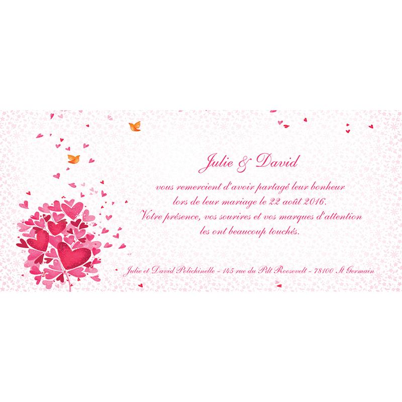 Carte de remerciement mariage L'Envolée  gratuit